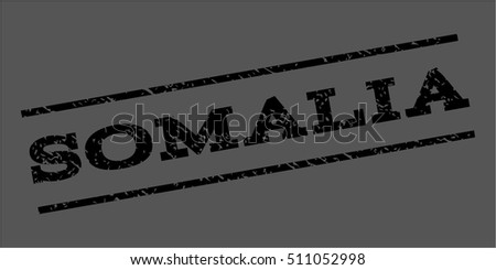 Somalia watermark stamp. Text tag between parallel lines with grunge design style. Rubber seal stamp with dirty texture. Vector black color ink imprint on a gray background.