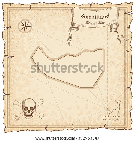 Somaliland old pirate map. Sepia engraved template of Somaliland pirate map. Stylized Somaliland pirate map on vintage torn paper.