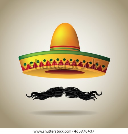 Sombrero and mustache. EPS 10 vector.