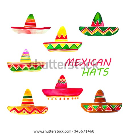 sombreros collection watercolor set isolated on white background
