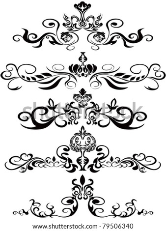 some beautiful black ornaments for design - stock vector