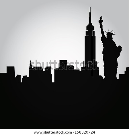 some black silhouettes of the buildings from new york - stock vector