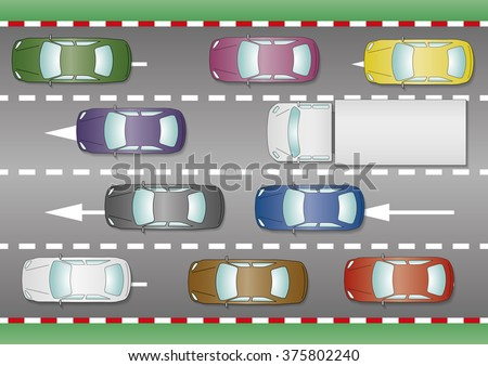 Some cars and trucks trapped in a traffic jam. Rush hour from above. Vector