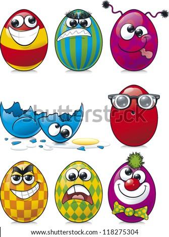 Some cartoon easter egg faces - stock vector