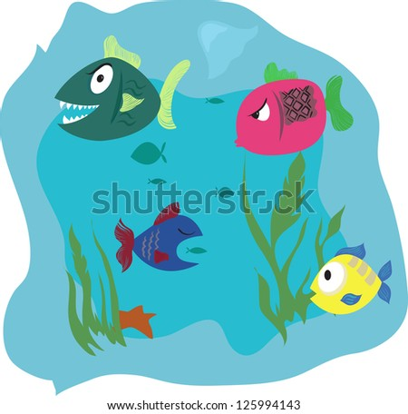 Some cartoon fish in the water. Vector illustration