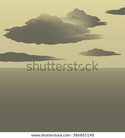 Some clouds are floating above a peaceful ocean, on a foggy green sepia day