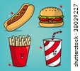 Some fast food characters. - stock vector