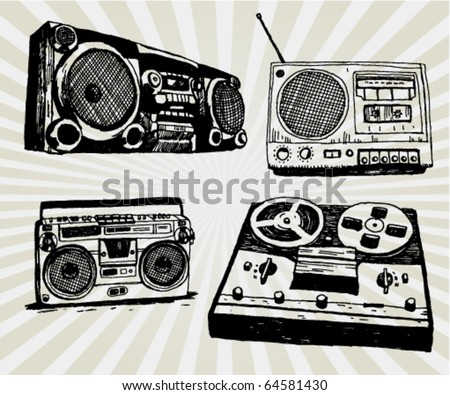 Some Hand Drawn Retro Tape Recorders - stock vector