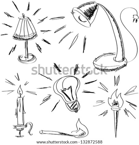 some handmade sketches of lighting devices for web-design, high quality print and other creative works - stock vector