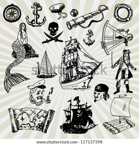 Some Illustration on Adventures Theme Hand Drawn - stock vector