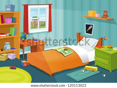 Some Kid Bedroom/ Illustration Of A Cartoon Children Bedroom With Boy Or  Girl Lifestyle Elements