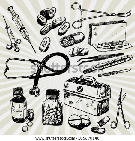 Some Medical Stuff Hand Drawn - stock vector