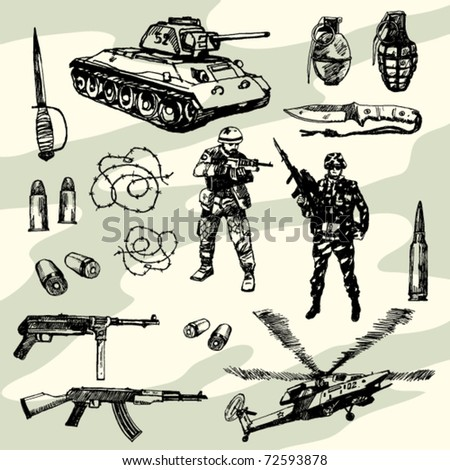 Some Military Things Hand Drawn - stock vector
