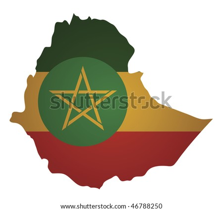 some old vintage map with flag of ethiopia - stock vector