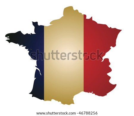 some old vintage map with flag of france