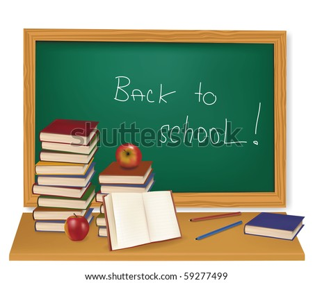 "Some school supplies in front of a blackboard with a sign ""Back to school"" on it. Vector."