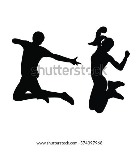 Girls Jumping Silhouette