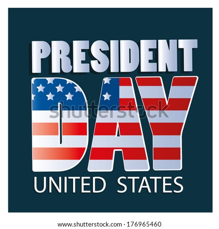 some text with the american flag as a texture for president day