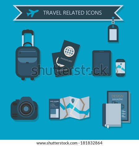 Some travel essentials and related icons set - stock vector