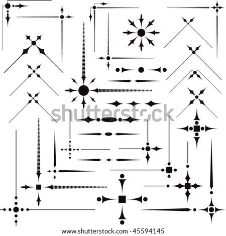 Some vector decorative design elements & corners for registration - stock vector