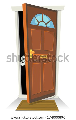 Something Or Someone Behind The Door/ Illustration of a cartoon human character or creature hiding behind red door opened - stock vector