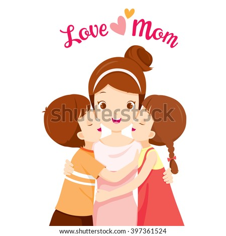 Son And Daughter Hugging Their Mother And Kissing On Her Cheeks, Mother's Day, Embracing, Love, Children, Sibling - stock vector