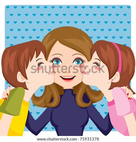 Son and daughter kissing happy mother cheeks from both sides - stock vector
