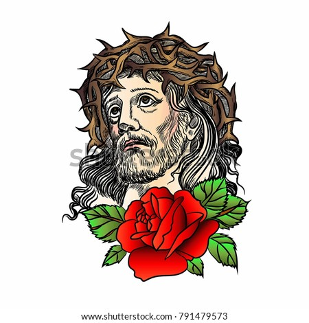 Son Of God Jesus Christ Tatto Red Rose With A Crown Thorns On