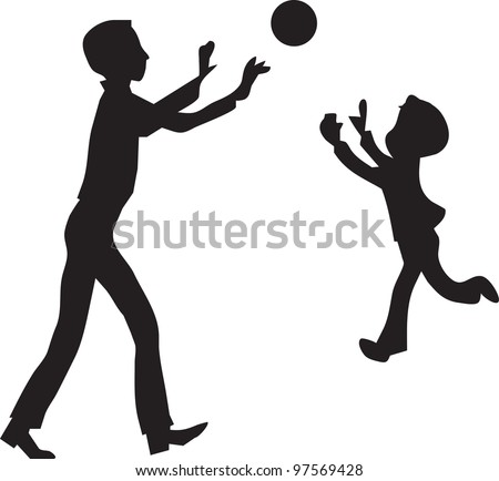 son with the father play ball - stock vector