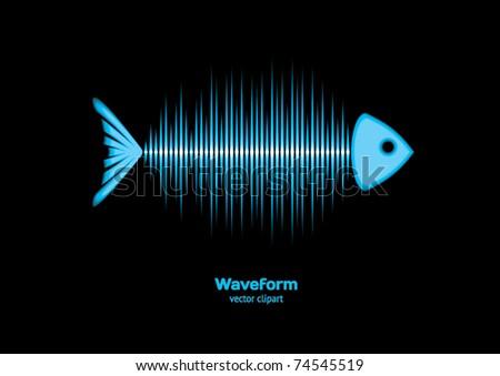 Sonar fish - stock vector