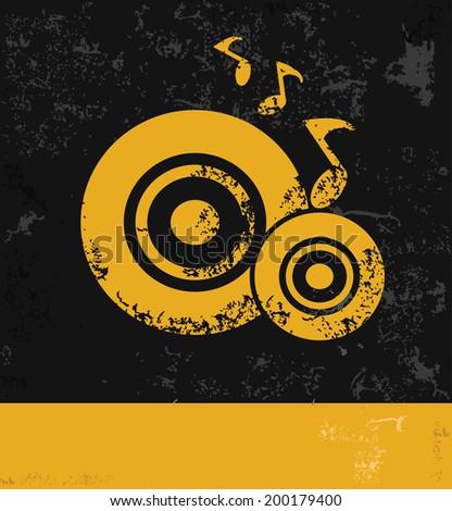 Song symbol,grunge vector - stock vector