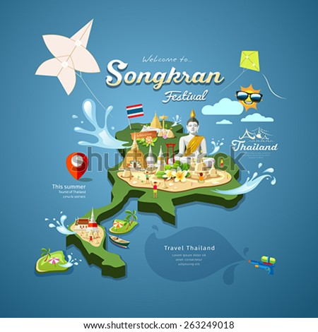 Songkran Festival in Thailand with kite, water, pagoda sand and travel on map thailand, design background, vector illustration