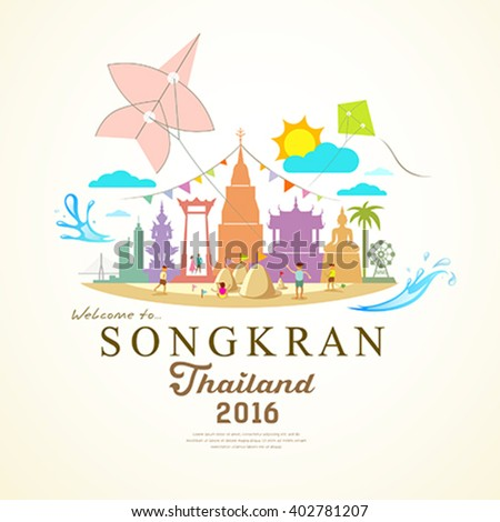 Songkran Festival Period of April, in the summer of Thailand with water,, design background, vector illustration