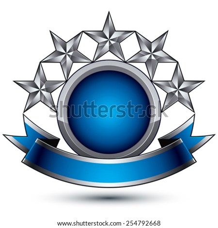 Sophisticated vector emblem with 5 silver glossy stars and blue wavy ribbon, 3d decorative design element, clear EPS 8. - stock vector