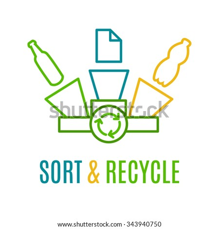 Sort and recycle, colored line logotype. Idea of recycling paper, plastic and glass waste. Ecology protection logo. Recycling logo with yellow, green and blue trash cans. Environment protection poster - stock vector
