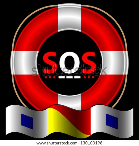 SOS symbol with lifebelt - stock vector