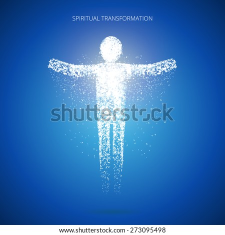Soul ascension. Spiritual transformation. Consciousness and body human faith and person. Vector illustration - stock vector