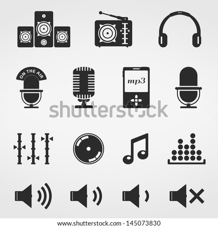 Sound and music, icons set, vector eps10 illustration - stock vector