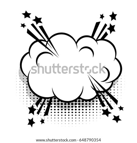 Sound boom explosion effects. Cloud empty white comic book text balloon pop art. Bubble icon speech phrase. Cartoon funny label tag expression. Advertising vector halftone dot illustration.