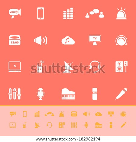 Sound color icons on orange background, stock vector