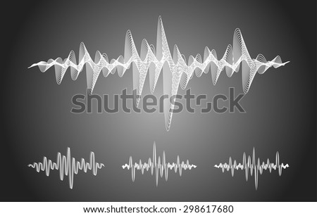 Sound equalizer waves graphic set in vector format on gray background - stock vector