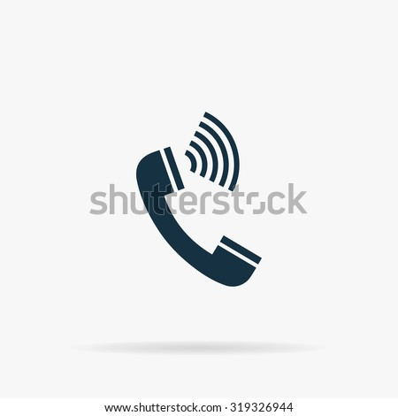Sound from the handset - phone. Flat vector web icon or sign on grey background with shadow. Collection modern trend concept design style illustration symbol - stock vector