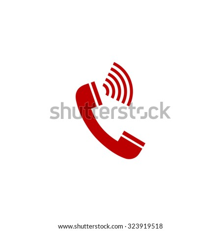 Sound from the handset - phone. Red flat icon. Vector illustration symbol - stock vector