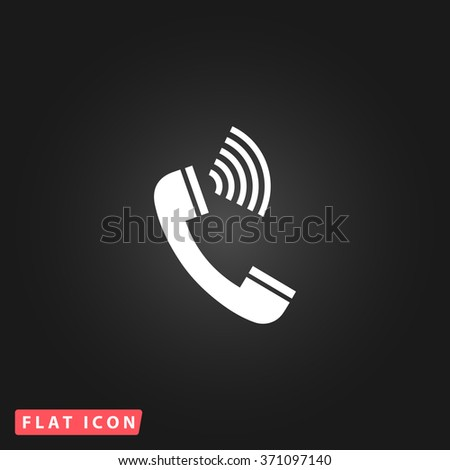 Sound from the handset - phone. White flat simple vector icon on black background. Icon JPEG JPG. Icon Picture Image. Icon Graphic Art. Icon EPS AI. Icon Drawing Object. Icon Path UI - stock vector