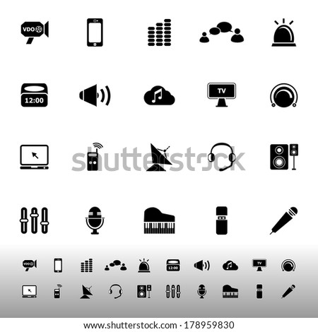 Sound icons on white background, stock vector