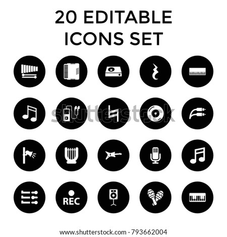 Sound icons. set of 20 editable filled sound icons such as piano, guitar, harp, disc on fire, dvd player, rec, xylophone. best quality sound elements in trendy style.