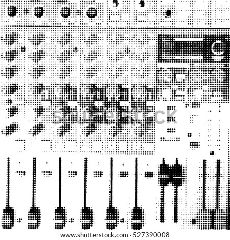Sound mixer control panel, closeup. Black white halftone doted background. Vector.