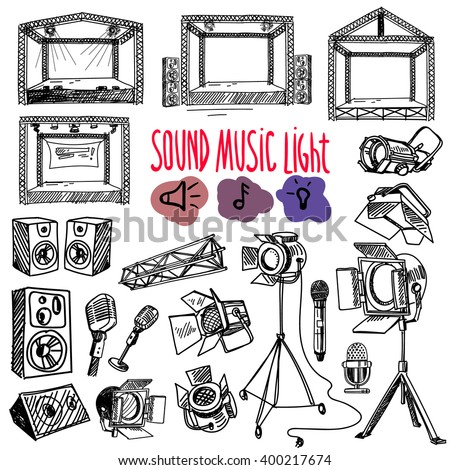 Sound, music and light vector set in  hand-drawn style. Microphone, spotlight, stage. - stock vector