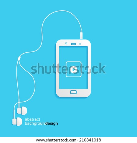 sound, phone, flat icon isolated on a blue background for your design, vector illustration - stock vector