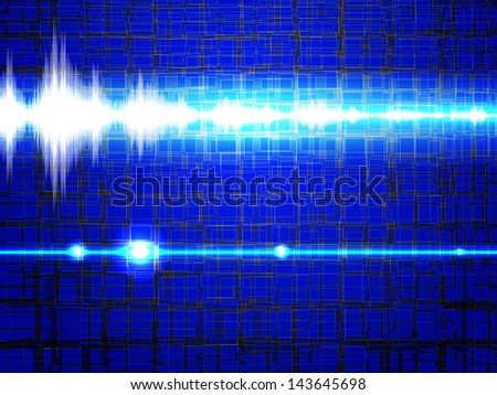 Sound signal in the blue background - stock vector